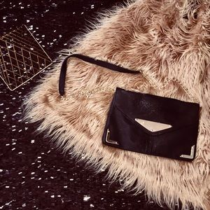 Handbags - Gold and Black Clutch with Chain Strap